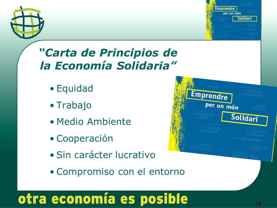 16 Equidad Trabajo Medio Ambiente Cooperación Sin carácter lucrativo Compromiso con el entorno Carta de Principios de la Economía Solidaria