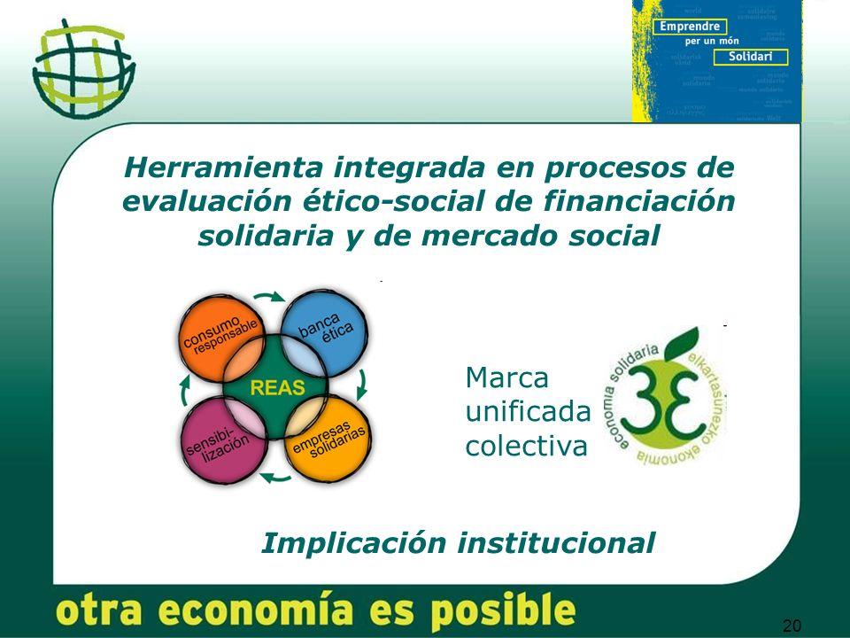 20 Herramienta integrada en procesos de evaluación ético-social de financiación solidaria y de mercado social Marca unificada colectiva Implicación institucional