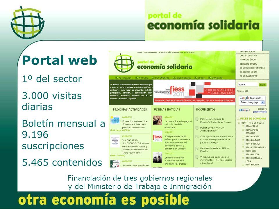 Financiación de tres gobiernos regionales y del Ministerio de Trabajo e Inmigración Portal web 1º del sector 3.000 visitas diarias Boletín mensual a 9.196 suscripciones 5.465 contenidos
