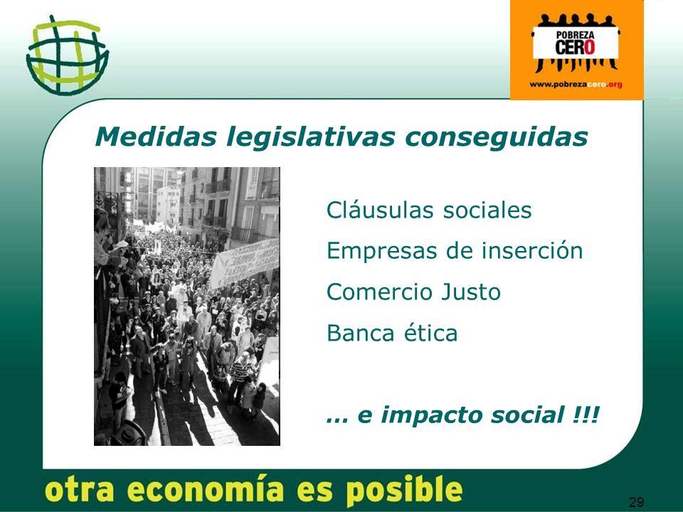 29 Medidas legislativas conseguidas Cláusulas sociales Empresas de inserción Comercio Justo Banca ética … e impacto social !!!