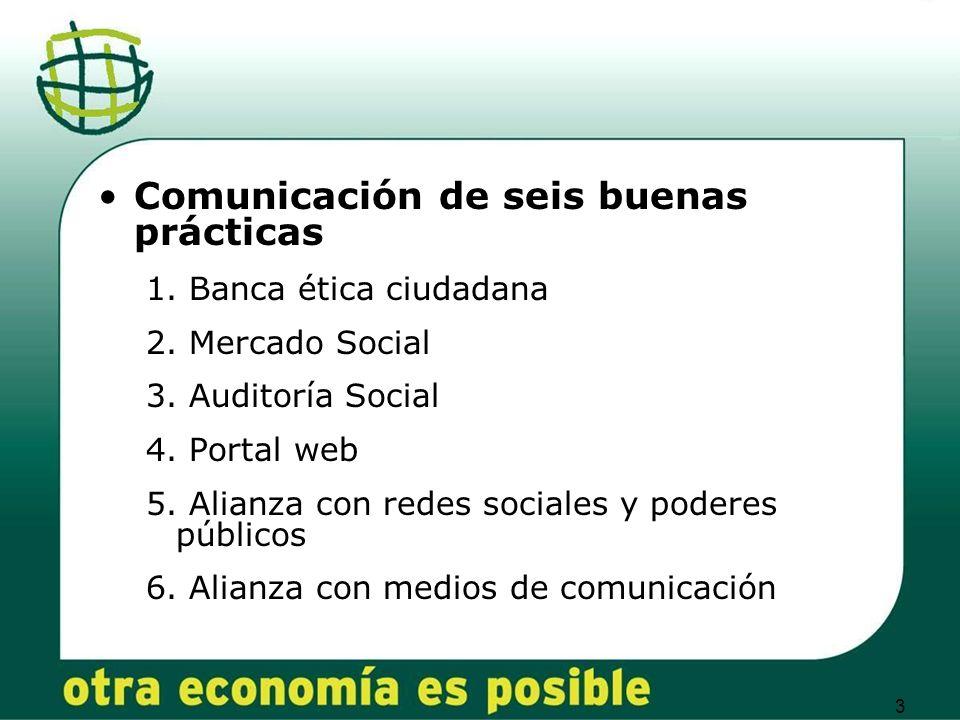 3 Comunicación de seis buenas prácticas 1. Banca ética ciudadana 2.