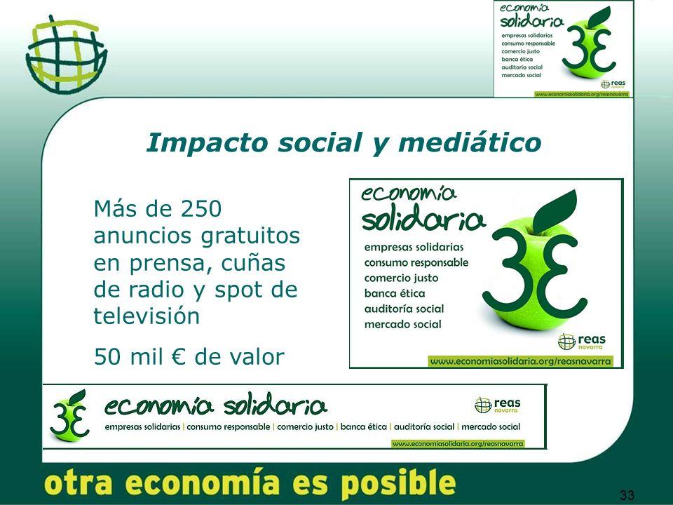33 Impacto social y mediático Más de 250 anuncios gratuitos en prensa, cuñas de radio y spot de televisión 50 mil de valor
