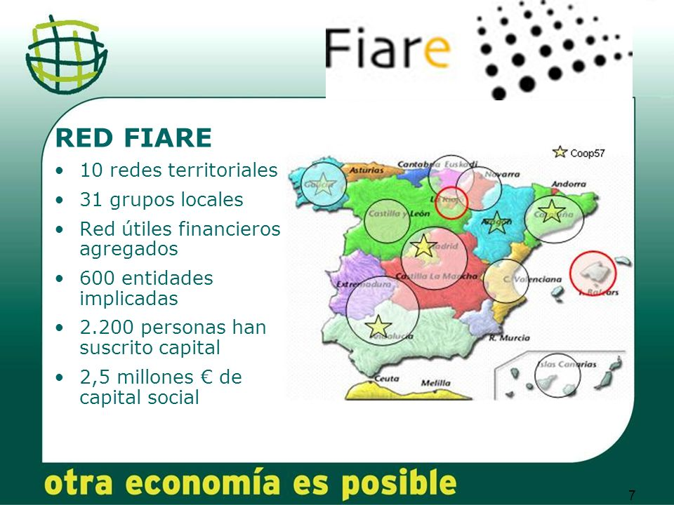7 RED FIARE 10 redes territoriales 31 grupos locales Red útiles financieros agregados 600 entidades implicadas 2.200 personas han suscrito capital 2,5