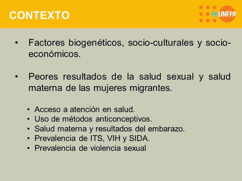 CONTEXTO Factores biogenéticos, socio-culturales y socio- económicos.