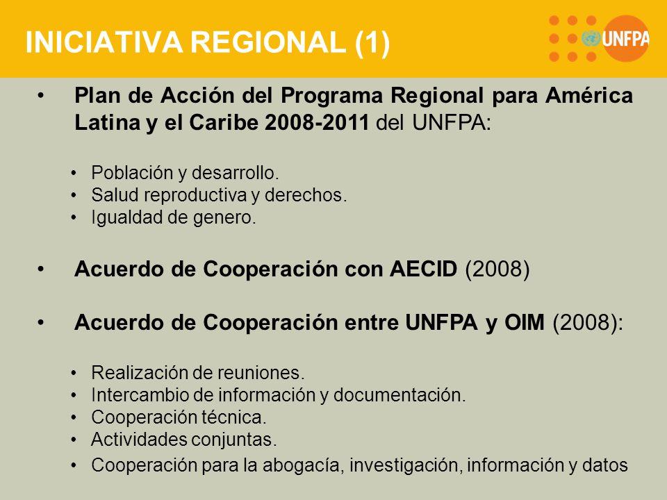 INICIATIVA REGIONAL (2) Iniciativa regional de promoción de los derechos humanos de la población migrante, particularmente el derecho a la SSR, incluido el VIH y SIDA y la violencia sexual, de mujeres y jóvenes migrantes.