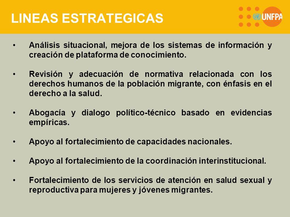 LINEAS ESTRATEGICAS Análisis situacional, mejora de los sistemas de información y creación de plataforma de conocimiento.
