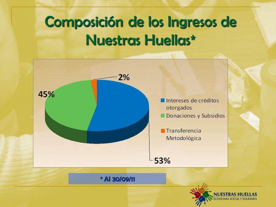 Composición de los Ingresos de Nuestras Huellas* * Al 30/09/11
