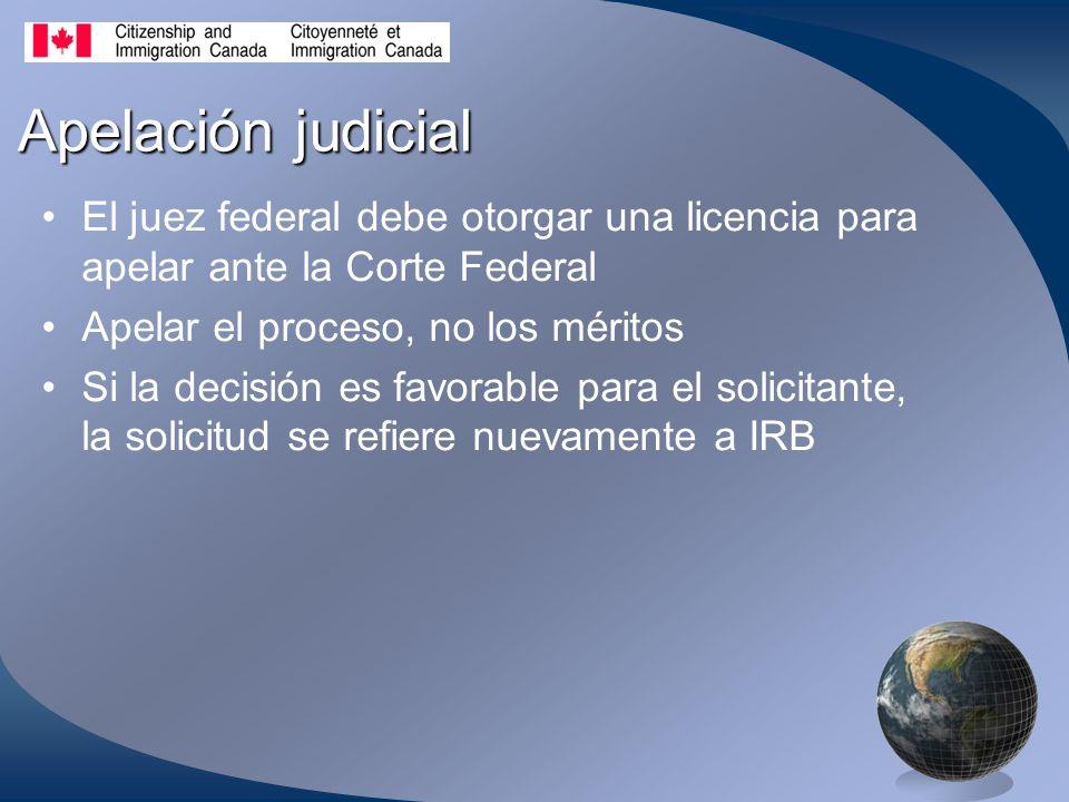 Apelación judicial El juez federal debe otorgar una licencia para apelar ante la Corte Federal Apelar el proceso, no los méritos Si la decisión es favorable para el solicitante, la solicitud se refiere nuevamente a IRB