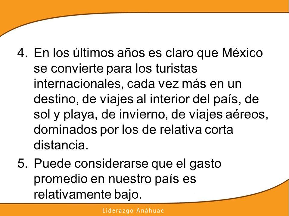 4.En los últimos años es claro que México se convierte para los turistas internacionales, cada vez más en un destino, de viajes al interior del país,