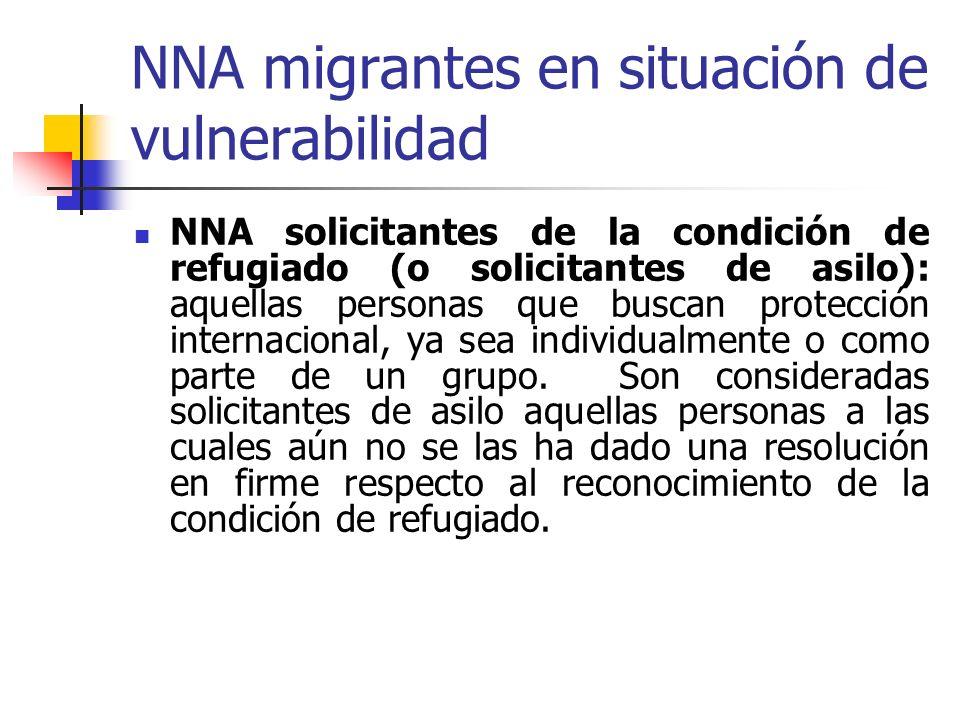 NNA migrantes en situación de vulnerabilidad NNA solicitantes de la condición de refugiado (o solicitantes de asilo): aquellas personas que buscan pro