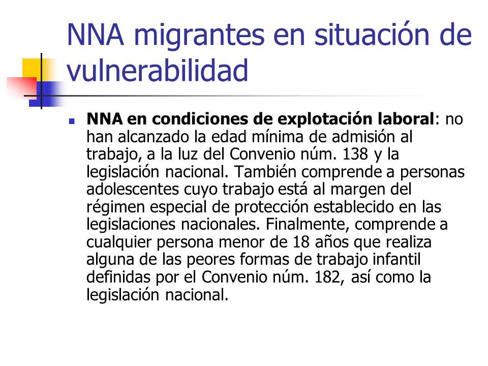 NNA migrantes en situación de vulnerabilidad NNA en condiciones de explotación laboral: no han alcanzado la edad mínima de admisión al trabajo, a la l