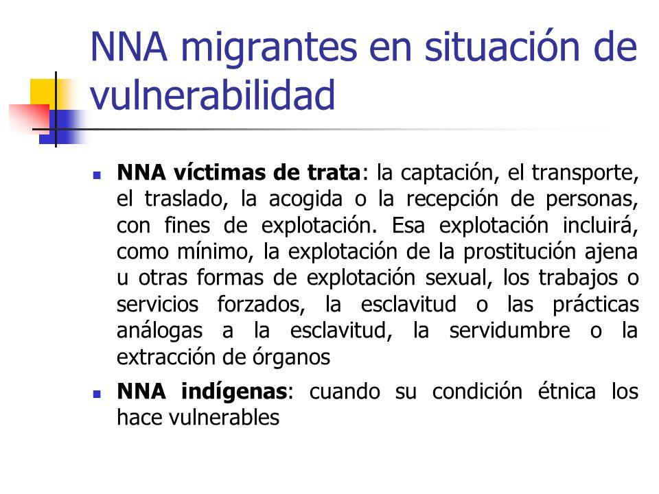 NNA migrantes en situación de vulnerabilidad NNA víctimas de trata: la captación, el transporte, el traslado, la acogida o la recepción de personas, c