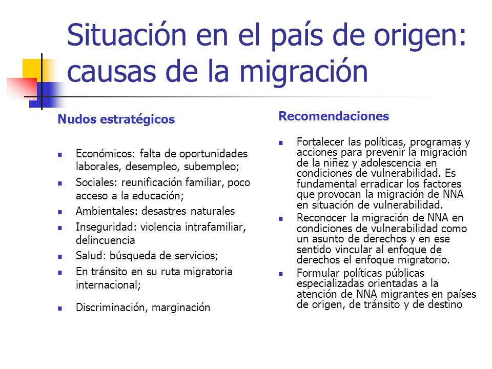 Situación en el país de origen: causas de la migración Nudos estratégicos Económicos: falta de oportunidades laborales, desempleo, subempleo; Sociales