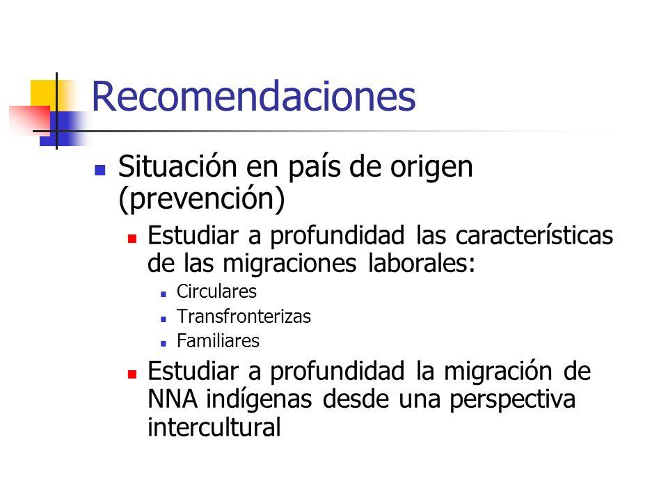 Recomendaciones Situación en país de origen (prevención) Estudiar a profundidad las características de las migraciones laborales: Circulares Transfron