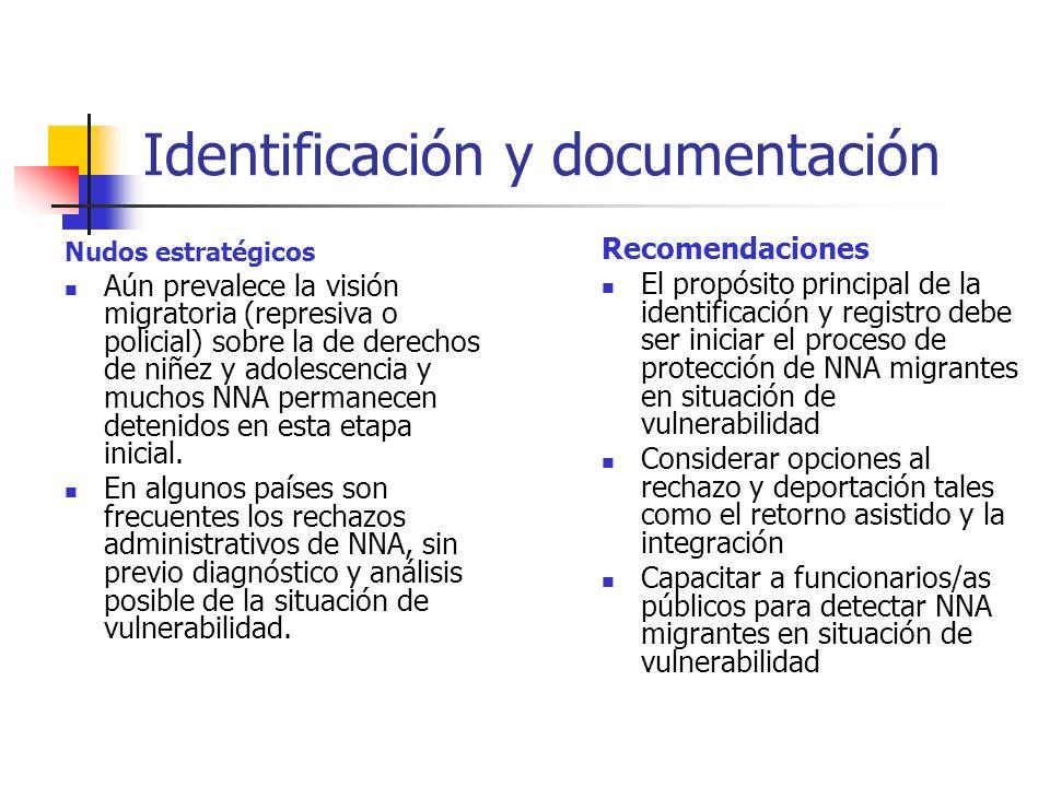 Identificación y documentación Nudos estratégicos Aún prevalece la visión migratoria (represiva o policial) sobre la de derechos de niñez y adolescenc