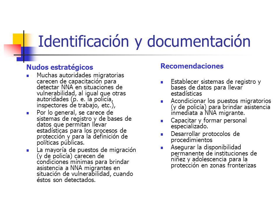 Identificación y documentación Nudos estratégicos Muchas autoridades migratorias carecen de capacitación para detectar NNA en situaciones de vulnerabi