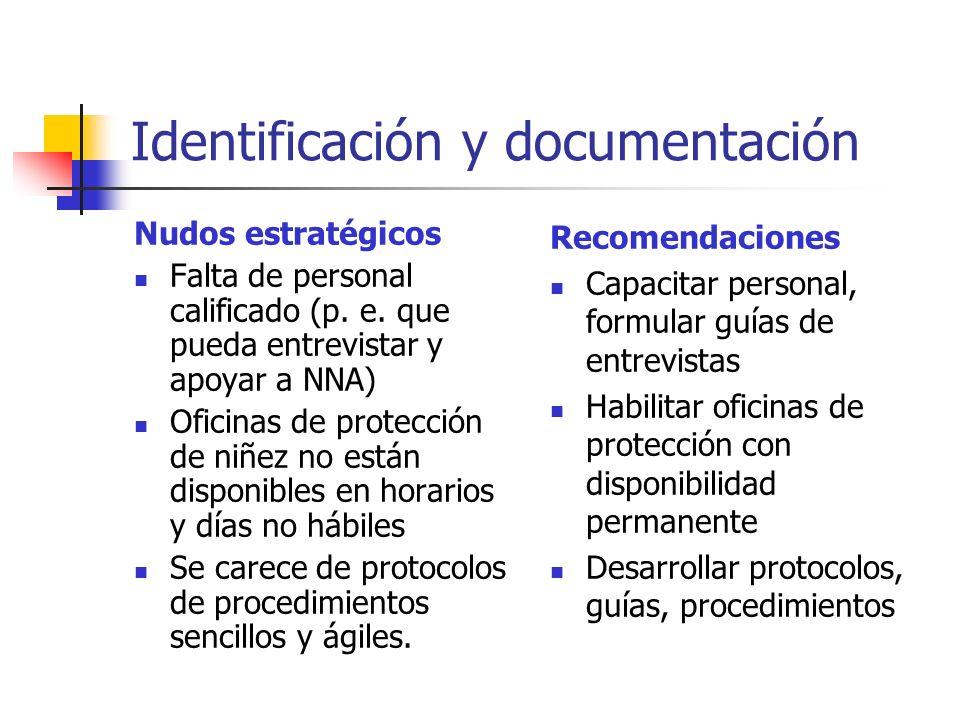 Identificación y documentación Nudos estratégicos Falta de personal calificado (p. e. que pueda entrevistar y apoyar a NNA) Oficinas de protección de