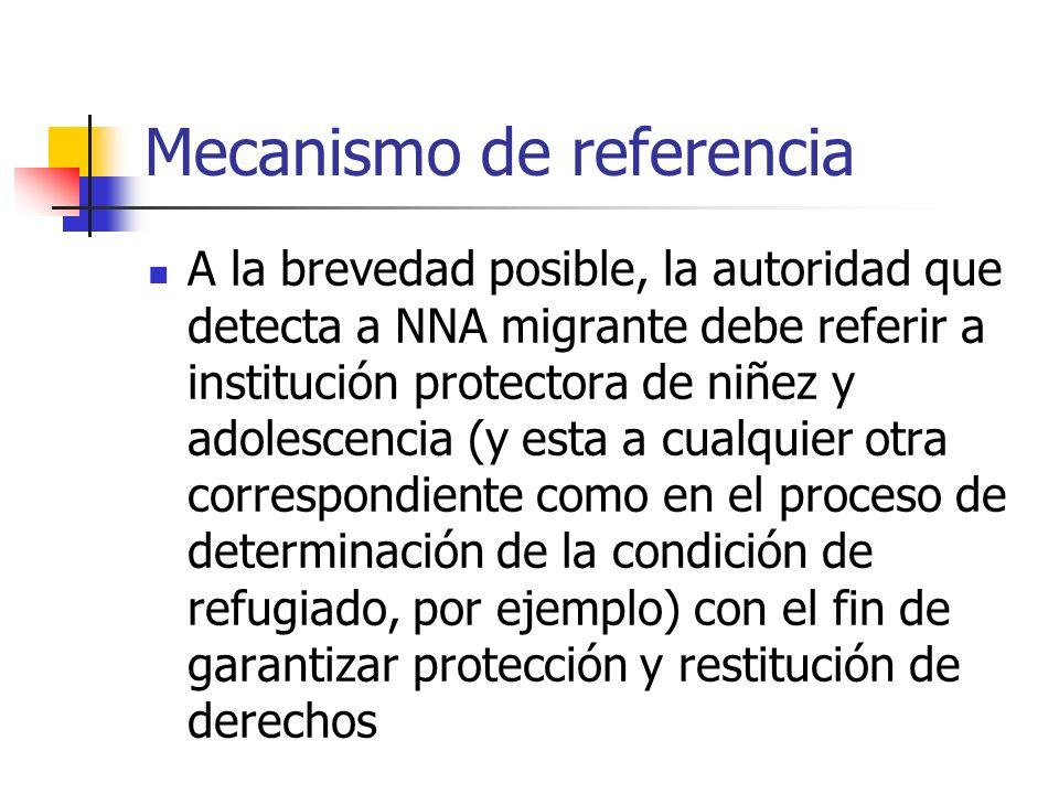 Mecanismo de referencia A la brevedad posible, la autoridad que detecta a NNA migrante debe referir a institución protectora de niñez y adolescencia (