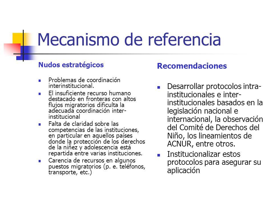 Mecanismo de referencia Nudos estratégicos Problemas de coordinación interinstitucional. El insuficiente recurso humano destacado en fronteras con alt