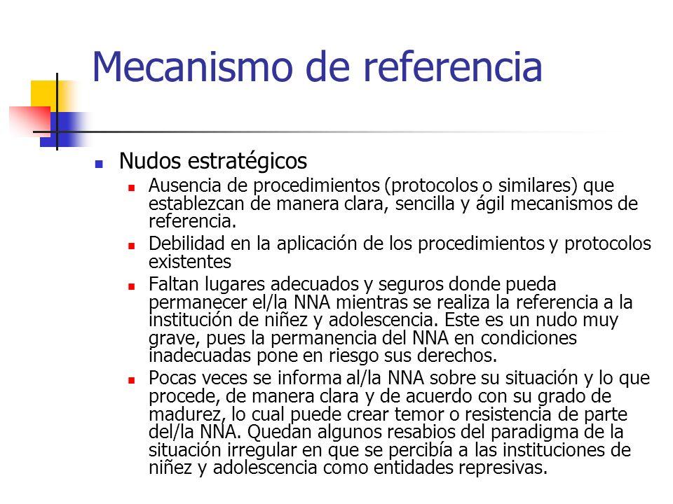 Mecanismo de referencia Nudos estratégicos Ausencia de procedimientos (protocolos o similares) que establezcan de manera clara, sencilla y ágil mecani