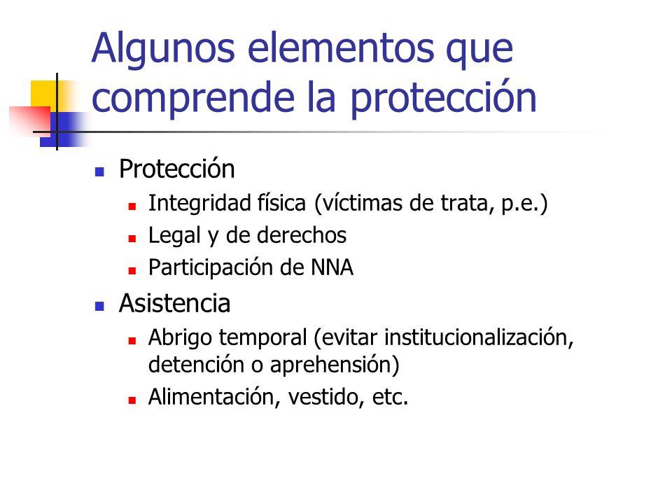 Algunos elementos que comprende la protección Protección Integridad física (víctimas de trata, p.e.) Legal y de derechos Participación de NNA Asistenc