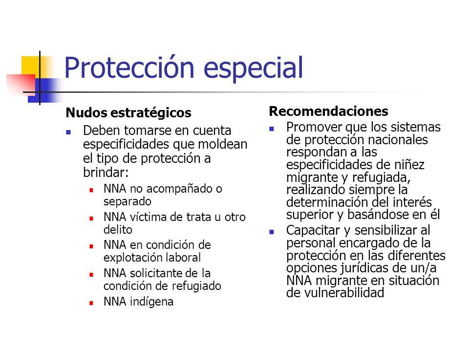 Protección especial Nudos estratégicos Deben tomarse en cuenta especificidades que moldean el tipo de protección a brindar: NNA no acompañado o separa