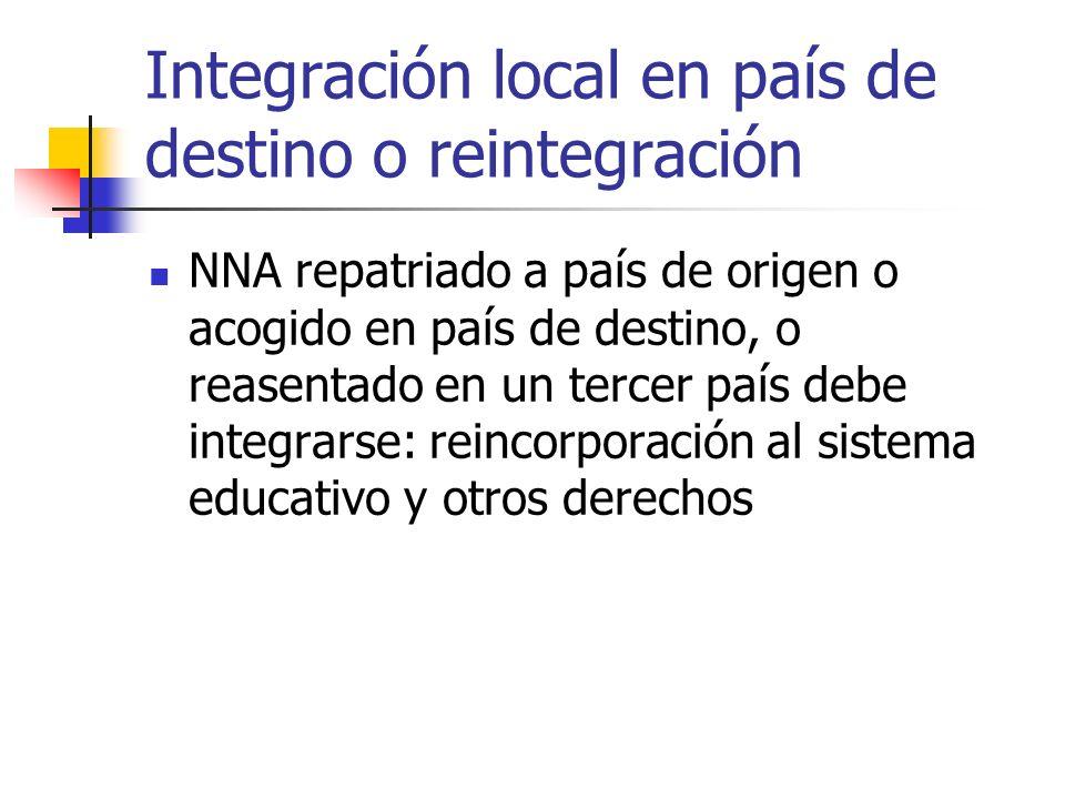 Integración local en país de destino o reintegración NNA repatriado a país de origen o acogido en país de destino, o reasentado en un tercer país debe