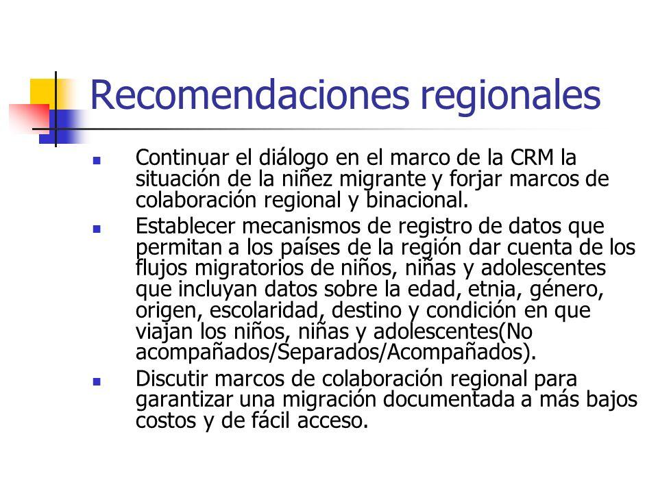 Recomendaciones regionales Continuar el diálogo en el marco de la CRM la situación de la niñez migrante y forjar marcos de colaboración regional y bin
