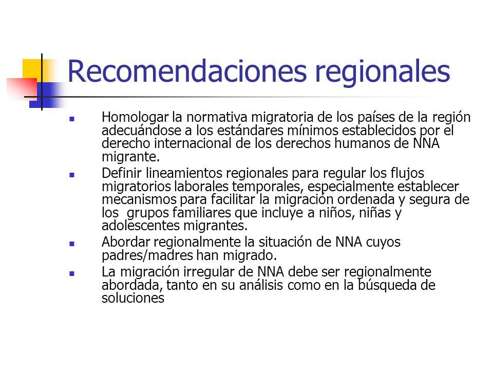 Recomendaciones regionales Homologar la normativa migratoria de los países de la región adecuándose a los estándares mínimos establecidos por el derec