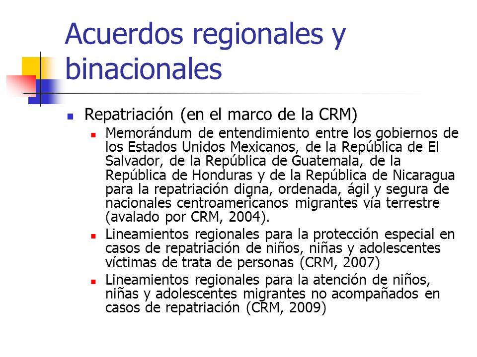 Acuerdos regionales y binacionales Migrantes Comisión Binacional México-Guatemala Laboral Procedimiento de gestión migratorio para trabajadores temporales Costa Rica-Nicaragua (2007) Poblaciones específicas Acuerdo binacional entre Costa Rica y Panamá (2007)