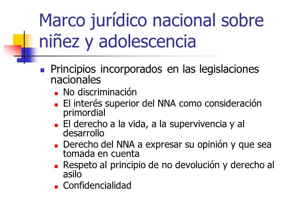 Marco jurídico nacional sobre niñez y adolescencia Principios incorporados en las legislaciones nacionales No discriminación El interés superior del N