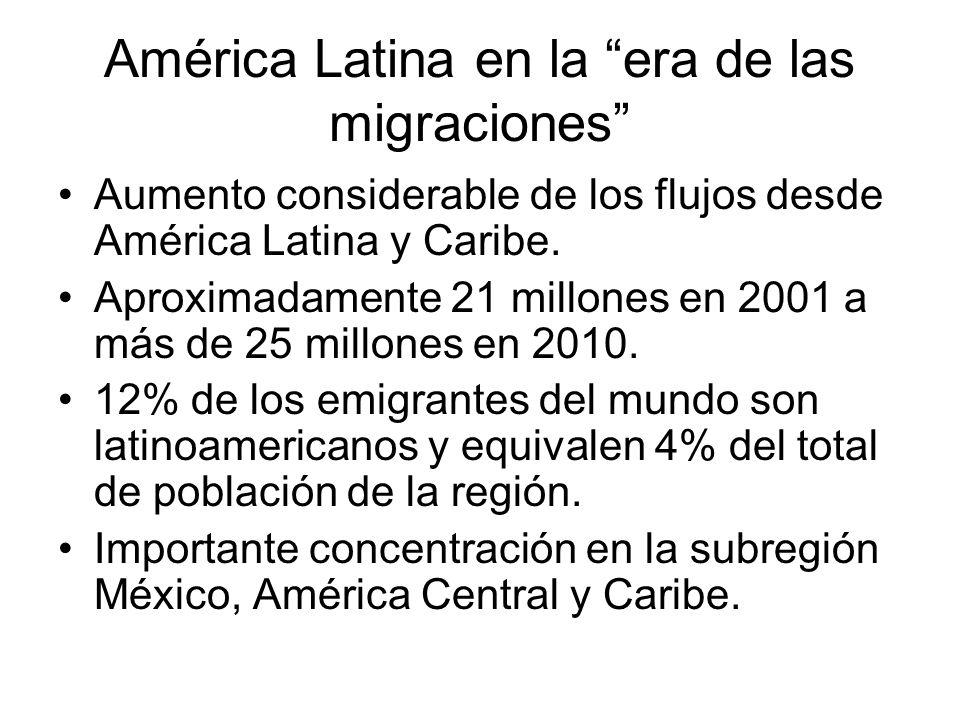 América Latina en la era de las migraciones Aumento considerable de los flujos desde América Latina y Caribe. Aproximadamente 21 millones en 2001 a má