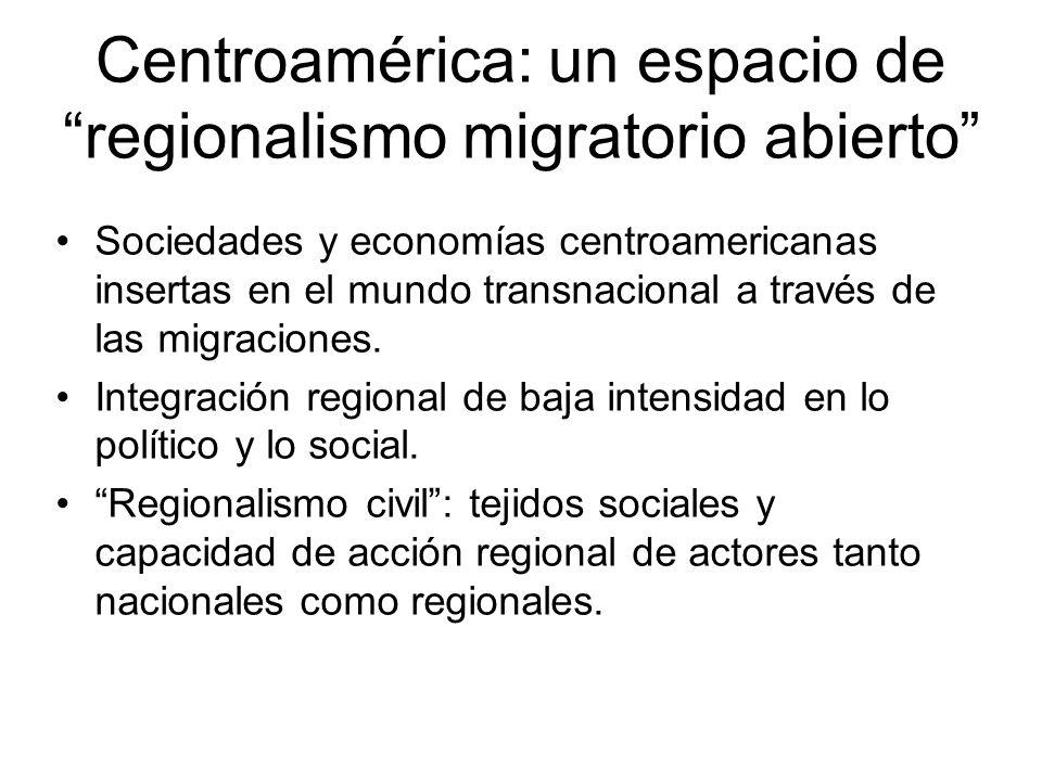 Sociedades y economías centroamericanas insertas en el mundo transnacional a través de las migraciones. Integración regional de baja intensidad en lo