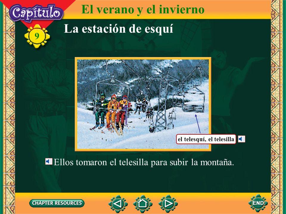 La estación de esquí El verano y el invierno 9 Los esquiadores compraron los boletos en la ventanilla. el boleto, el ticket la ventanilla, la boleterí