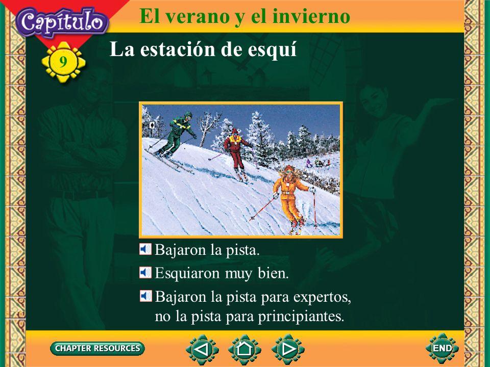 La estación de esquí El verano y el invierno 9 Ellos tomaron el telesilla para subir la montaña. el telesquí, el telesilla