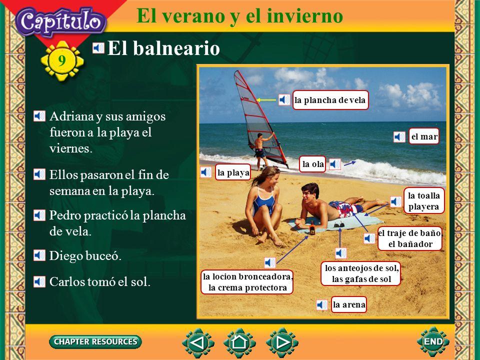 Vocabulario Describing a tennis game jugar (al) tenisto play tennis 9 El verano y el invierno golpear la pelota to hit the ball (Spanish–English)