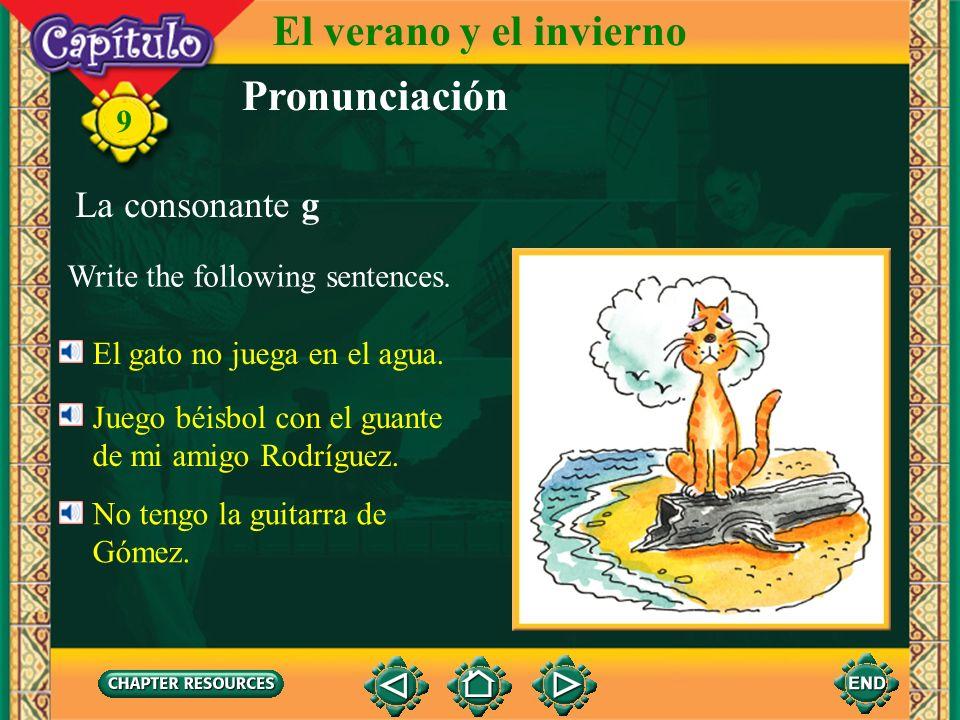 Pronunciación La consonante g Repeat the following. ga gueguigogu 9 El verano y el invierno gafa amiga garganta paga gato Rodríguez guerrilla guitarra