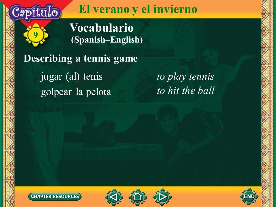 Vocabulario Describing a tennis game el tenistennis 9 El verano y el invierno la cancha de tenis (al aire libre, cubierta) tennis court (open air, cov