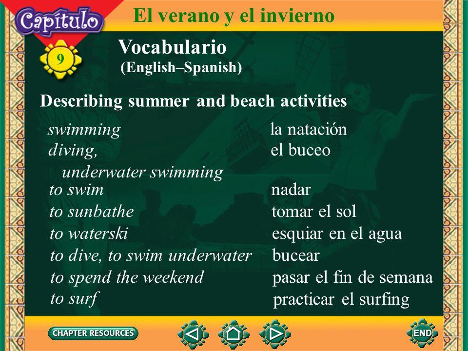 Vocabulario Identifying beach gear el esquí acuáticowaterskiing 9 El verano y el invierno la plancha de vela la tabla hawaiana sailboard surfboard (En