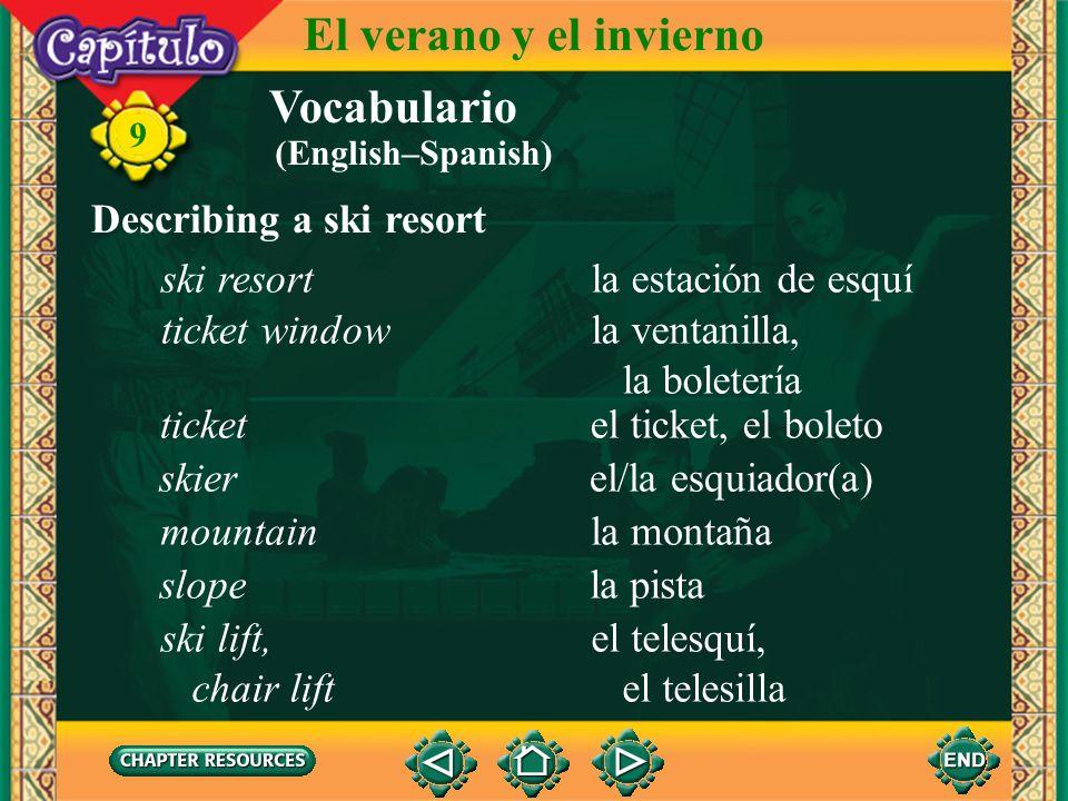 Vocabulario Describing a tennis game jugar (al) tenisto play tennis 9 El verano y el invierno golpear la pelota to hit the ball (English–Spanish)