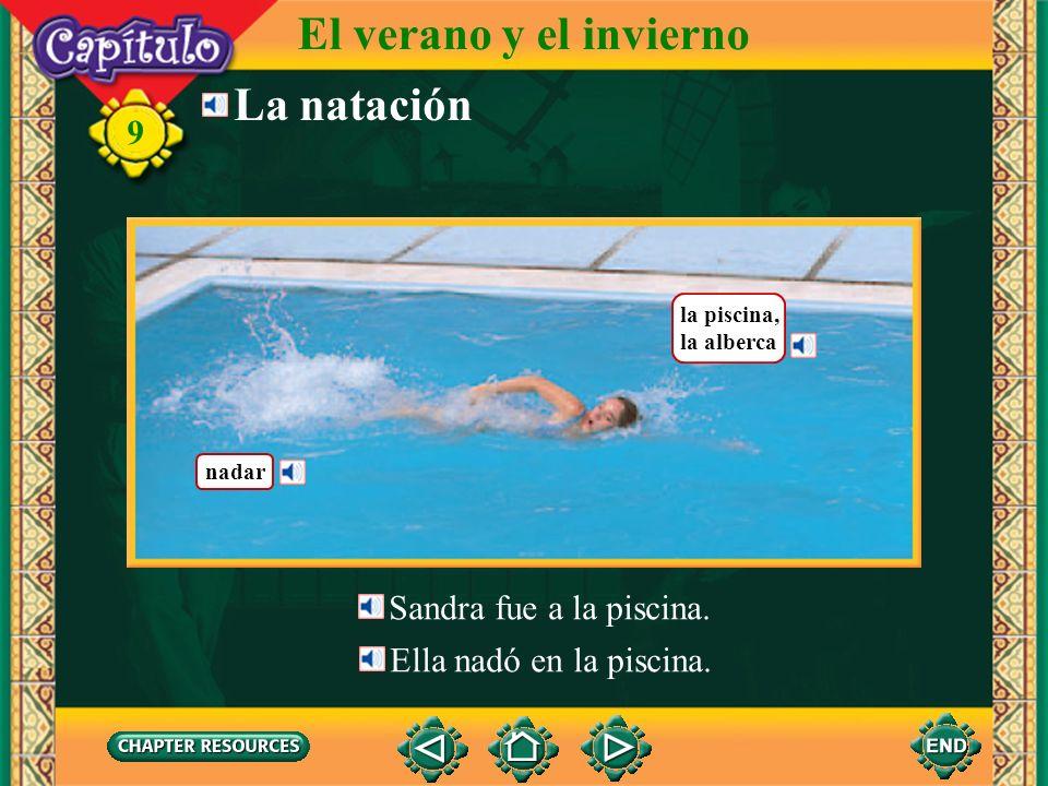 nadar la piscina, la alberca La natación El verano y el invierno 9 Sandra fue a la piscina.