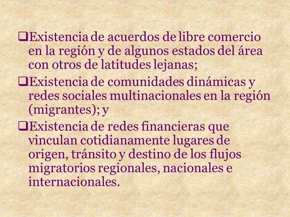 Existencia de acuerdos de libre comercio en la región y de algunos estados del área con otros de latitudes lejanas; Existencia de comunidades dinámicas y redes sociales multinacionales en la región (migrantes); y Existencia de redes financieras que vinculan cotidianamente lugares de origen, tránsito y destino de los flujos migratorios regionales, nacionales e internacionales.