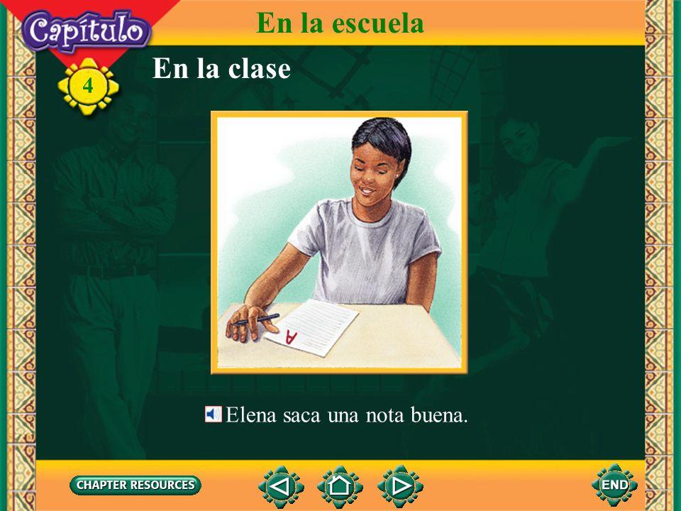 En la clase 4 Ahora la profesora da un examen. Los alumnos toman el examen. En la escuela