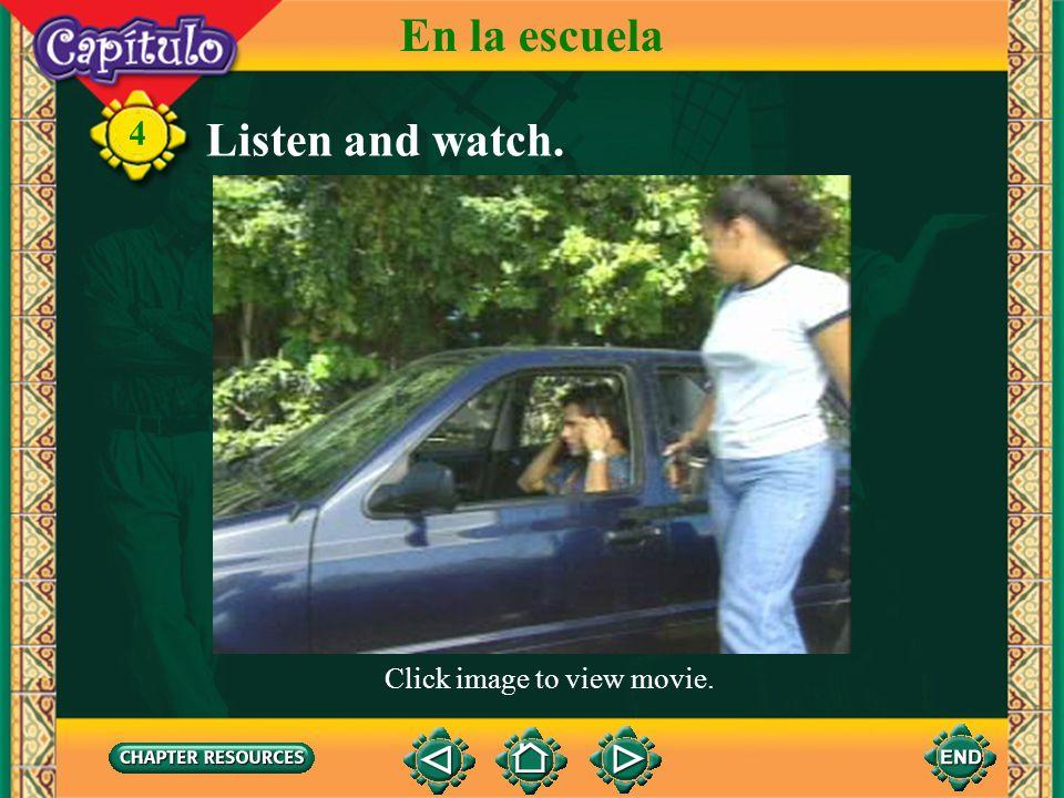 4 Complete. 1. Las alumnas mira ___ profesor. Answer: al 2. Carlos mira ___ pizarrón. Answer: el 3. Es la mochila ___ profesor. Answer: del 4. Carmen