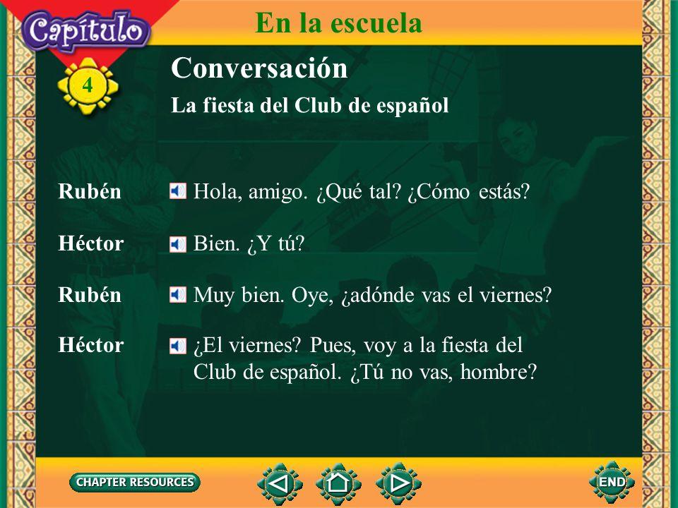 Conversación RubénHola, amigo. ¿Qué tal? ¿Cómo estás? HéctorBien. ¿Y tú? Héctor ¿El viernes? Pues, voy a la fiesta del Club de español. ¿Tú no vas, ho