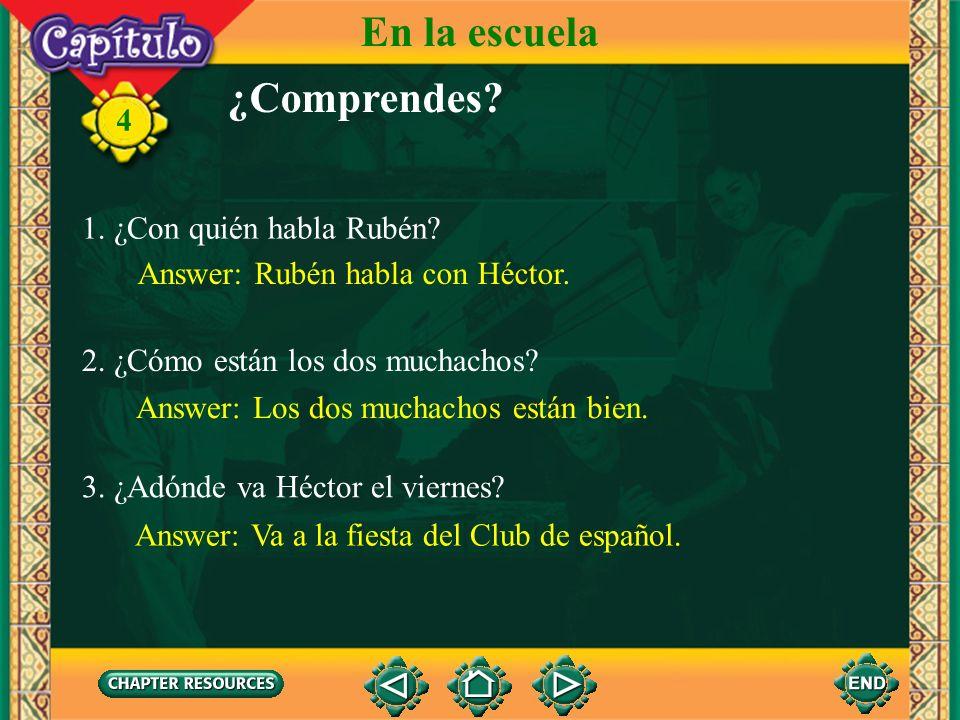 Conversación RubénSí, voy. ¿Por qué no vamos juntos? RubénEn la fiesta bailamos, cantamos. Héctor¿Por qué no? ¡Buena idea! 4 Héctor Sí, y tomamos una