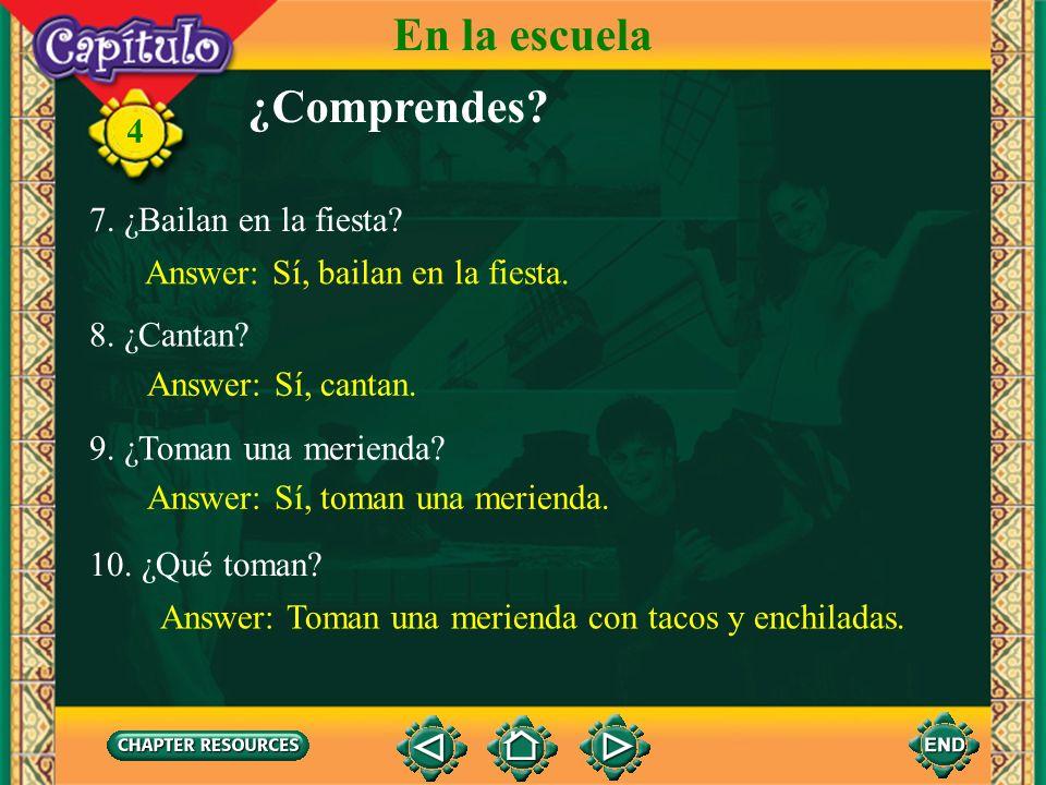 4 En la escuela 4. ¿Va Rubén también? Answer: Sí, Rubén va también. 5. ¿Quién da la fiesta? Answer: El Club de español da la fiesta. 6. ¿Van juntos lo