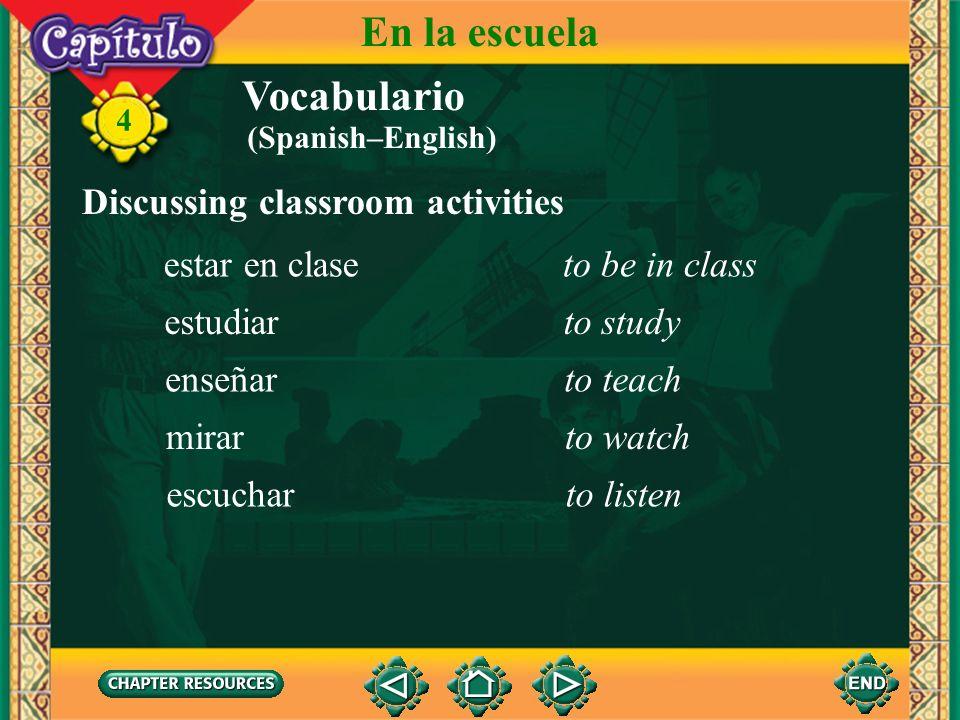 Vocabulario Identifying classroom objects la sala (el salón) de claseclassroom 4 En la escuela la pizarra, el pizarrónchalkboard (Spanish–English)