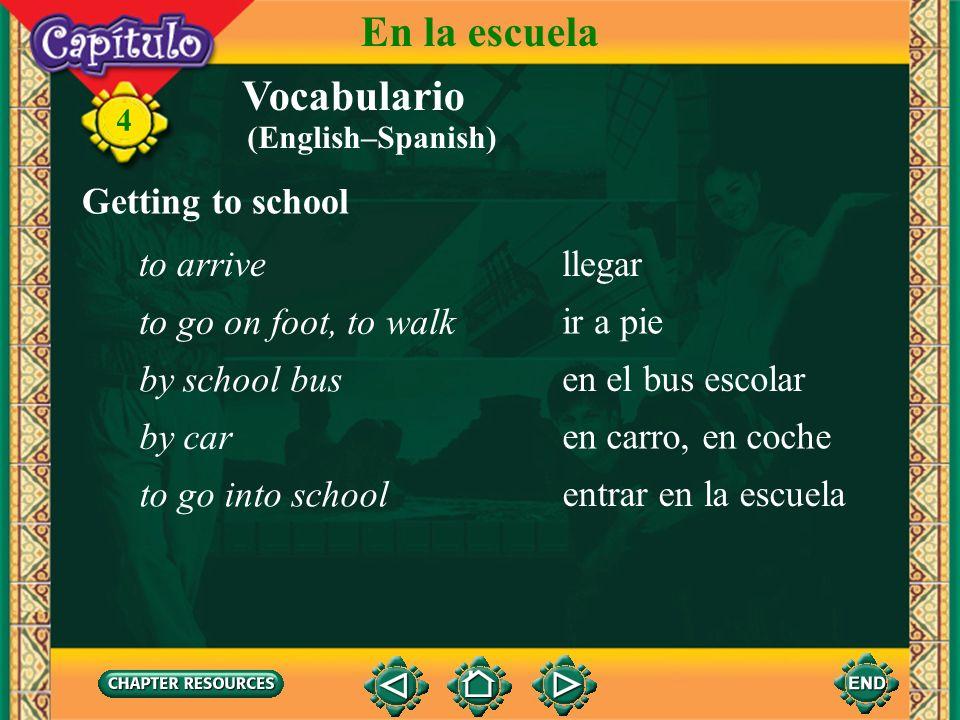 Vocabulario Other useful expressions a eso deabout 4 En la escuela en puntoexactly, on the dot otros(as)another algunos(as)some ahoranow tambiénalso (