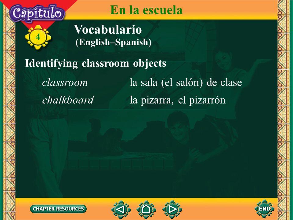 Vocabulario Getting to school llegarto arrive 4 En la escuela ir a pie en el bus escolar en carro, en coche entrar en la escuela to go on foot, to wal